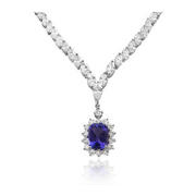 Diamond and Tanzanite 18k White Gold Necklace