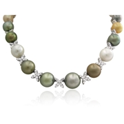 Diamond and Pearl 18k White Gold Graduated Necklace
