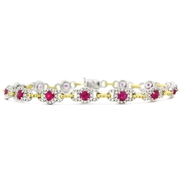 Simon G Diamond and Ruby 18k  Two Tone Gold Bracelet