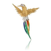 Garavelli Diamond & Ruby 18k Two Tone Gold Multi-colored Enamel Bird Brooch Pin