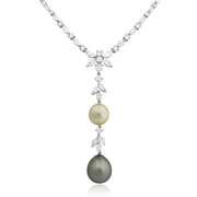 Diamond and Pearl 18k White Gold Drop Necklace