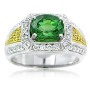 Simon G Diamond & Tsavorite Antique Style 18k Two Tone Gold Ring