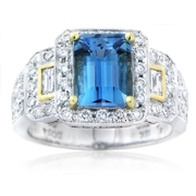 Simon G Diamond and Aquamarine Antique Style 18k Two Tone Gold Ring