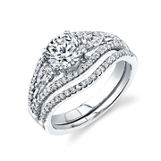 Simon G Diamond 18k White Gold Engagement Ring Setting and Wedding Band