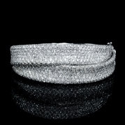 Leo Pizzo Diamond 18k White Gold Bangle Bracelet