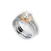 Simon G Diamond Platinum & 18k Rose Gold Halo Engagement Ring Setting and Wedding Band Set