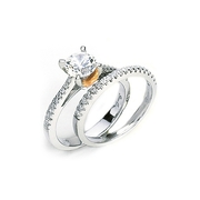 Simon G Diamond Platinum & 18k Pink Gold Engagement Ring Setting and Wedding Band Set