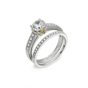 Simon G Diamond Antique Style Platinum and 18k Yellow gold Engagement Ring Setting and Wedding Band Set