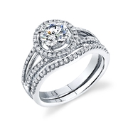 Simon G Diamond Platinum Halo Engagement Ring Setting and Wedding Band Set