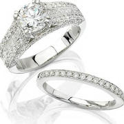 Natalie K Diamond 18k White Gold Engagement Ring Setting and Wedding Band Set