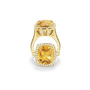 Charles Krypell Diamond and Citrine 18k Yellow Gold Ring