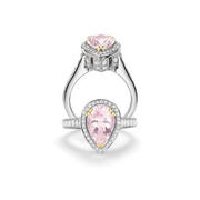 Charles Krypell Diamond and Morganite 18k Two Tone Gold Right Hand Ring