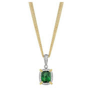 Charles Krypell Diamond, Yellow Sapphire and Green Tourmaline 18k Two Tone Gold Necklace