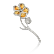 Garavelli Diamond & Citrine 18k White Gold Floral Brooch Pin