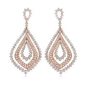 Leo Pizzo Diamond 18k Two Tone Gold Dangle Earrings
