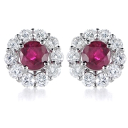 Diamond and Ruby 18k White Gold Earrings