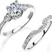 Natalie K Diamond Antique Style 18k White gold Engagement Ring Setting and Wedding Band Set