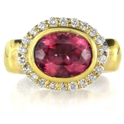 Diamond and Rubellite 18k Yellow Gold Ring