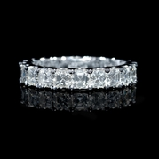 Diamond 18k White Gold Asscher Shaped Eternity Wedding Band Ring