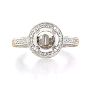 Diamond Antique Style Platinum and 18k Rose Gold Halo Engagement Ring Setting