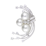 Diamond and South Sea Pearl 18k White Gold Brooch Pin