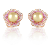 Diamond, Pink Sapphire & Pearl 18k Rose Gold Earrings