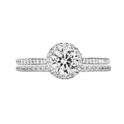 Ritani Bella Vita Collection Diamond 18k White Gold Halo Engagement Ring Setting and Wedding Band Set