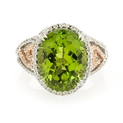 Simon G Diamond and Peridot 18k Two Tone Gold Ring