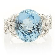 Simon G Diamond and Aquamarine 18k White Gold Ring
