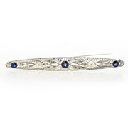 Diamond and Blue Sapphire Antique Style 18k White Gold Brooch