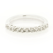 Diamond Round Brilliant Cut Common Prong Platinum Wedding Band Ring