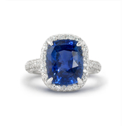 AGTA Certified  Blue Sapphire & Diamond Platinum Ring