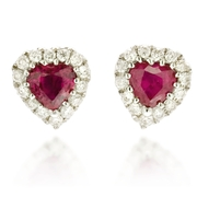 Diamond and Ruby 18k White Gold Heart Earrings