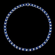 Diamond and Ceylon Blue Sapphire 18k White Gold Necklace