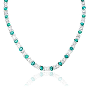 Diamond and Emerald 18k White Gold Necklace
