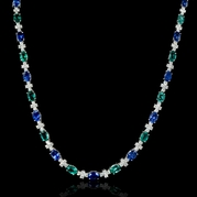 Diamond Emerald and Ceylon Blue Sapphire 18k White Gold Necklace