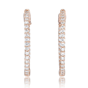 Diamond 18k Pink Gold Hoop Earrings