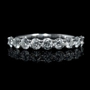 Diamond 1.00 Carat 18k White Gold Round Brilliant Cut Common Prong Wedding Band Ring