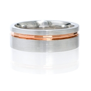 Men's Platinum and 18k Rose Gold Wedding Band Ring