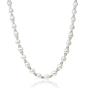 Diamond and Pearl 18k White Gold Opera Necklace
