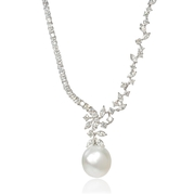 Diamond and South Sea Pearl 18k White Gold Necklace
