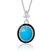 Diamond and Turquoise 18k White Gold and Black Onyx Pendant Necklace
