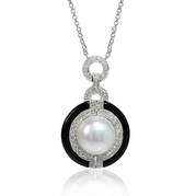 Diamond and Pearl Antique 18k White Gold and Black Onyx Pendant Necklace