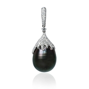 Diamond and Tahitian Pearl 18k White Gold Pendant