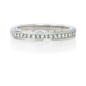 Natalie K Diamond Antique Style Platinum Wedding Band Ring