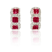 Diamond and Ruby 18k White Gold Huggie Earrings