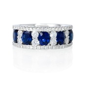 Diamond and Oval Blue Sapphire 18k White Gold Wide Band Ring