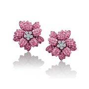 Le Vian Diamond and Pink Sapphire 18k White Gold Earrings