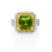 Diamond and Peridot 22k Yellow Gold and 18k White Gold Ring
