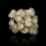 Diamond 18k Yellow Gold Floral Ring